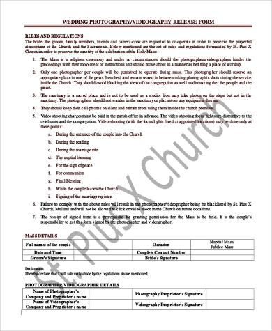 Sample Photographer Release Form   Free Documents In Pdf