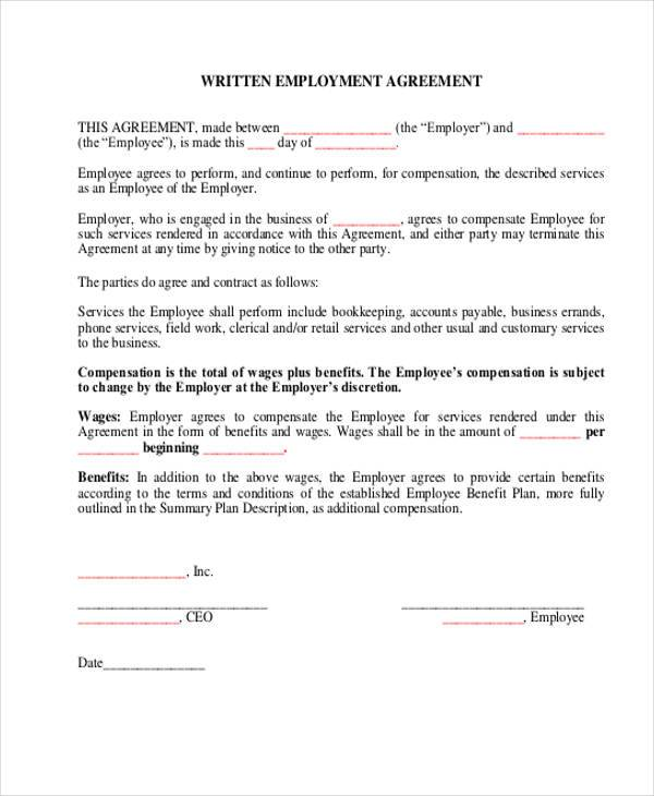 9 employment agreement samples free samples examples for Terms of employment contract template