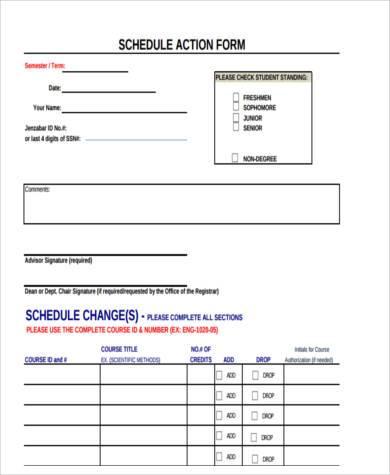 schedule action form