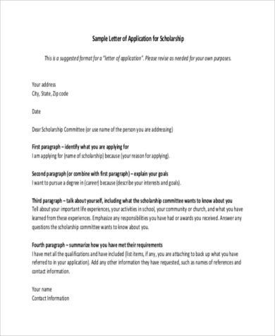 letter of application for scholarship