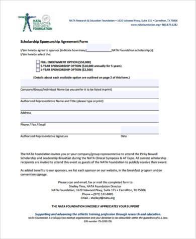 Good Scholarship Sponsorship Agreement Form