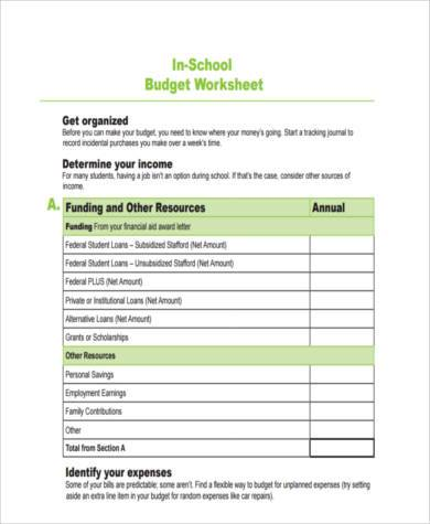 school budget form example