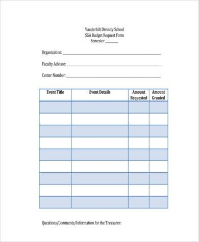 Sample School Budget Forms   Free Documents In Word Pdf