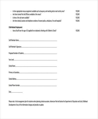 school excursion risk assessment form1