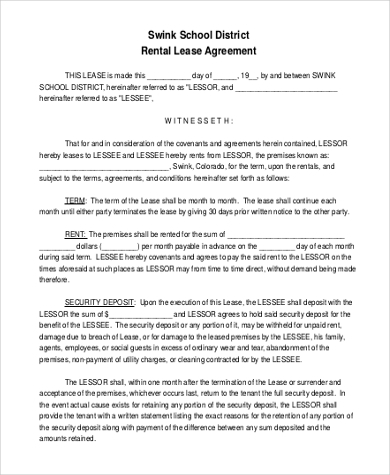 school rental lease agreement