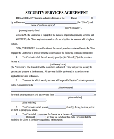 Security agreement form samples 9 free documents in for Security company contract template