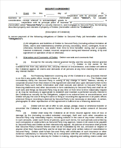security agreement form in word format
