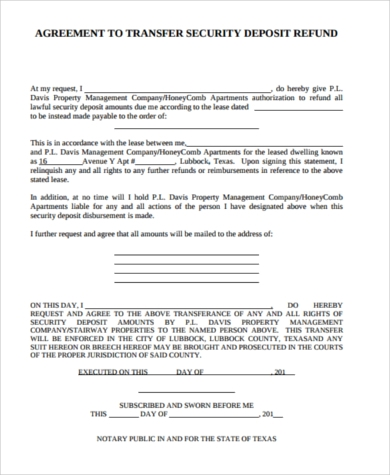 Security Deposit Refund Form Samples 8 Free Documents In Word Pdf
