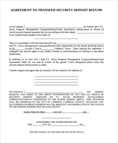 security deposit agreement refund form