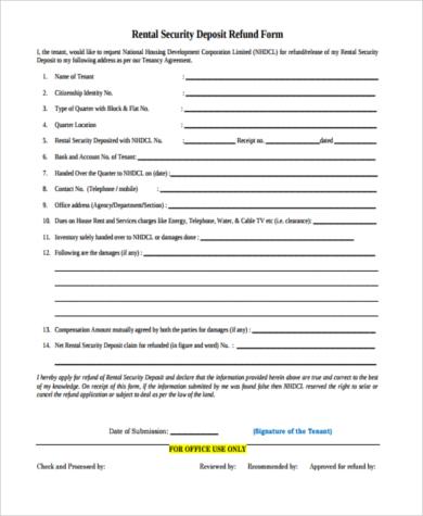 security deposit refund form in word