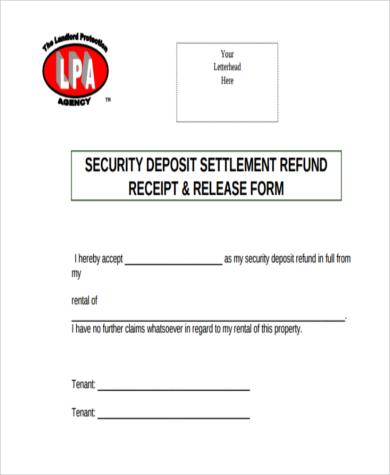 security deposit refund receipt form