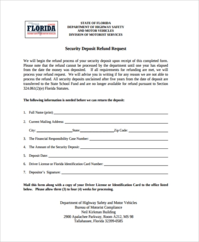 Security Deposit Refund Form Samples - 8+ Free Documents In Word, Pdf