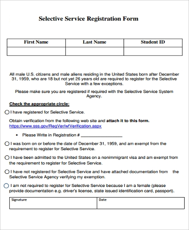 Sample Selective Service Registration Forms   Free Documents In