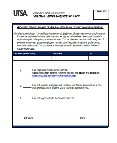 Selective Service Form Samples   Free Documents In Word Pdf
