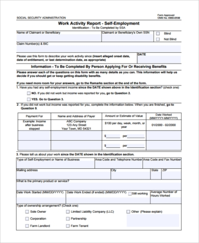 self employed social security tax form