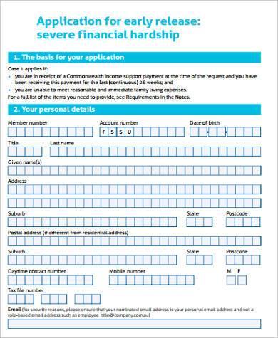 severe financial hardship form