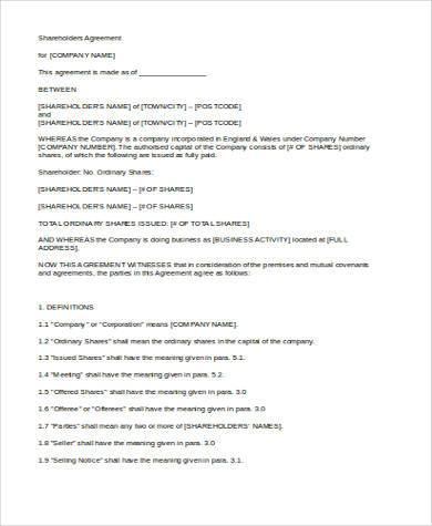 Free 8 Sample Shareholder Agreement Forms In Pdf Word