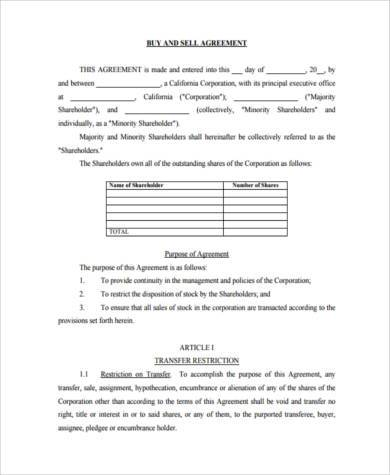 shareholder buyout agreement template - sample shareholder agreement forms 8 free documents in