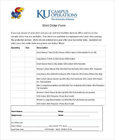 shirt order form pdf