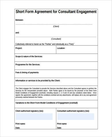 Consulting agreement form samples 8 free documents in word pdf short consulting agreement form platinumwayz