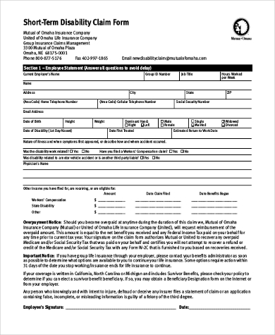 Sample Short Term Disability Form - 7+ Free Documents In Pdf