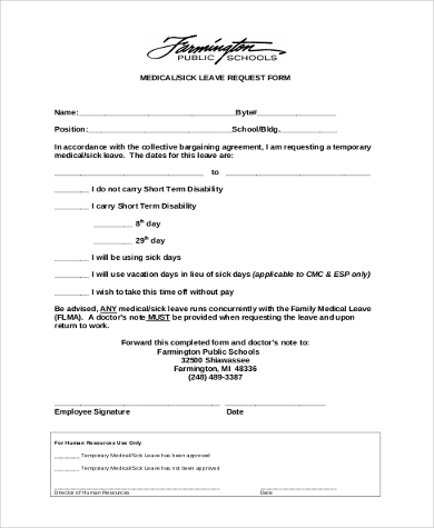 sick leave request form - Sick Leave Request Sample