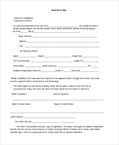 simple boat bill of sale form