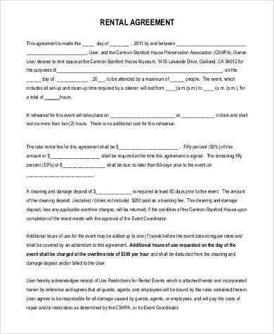 Sample Commercial Rental Agreement Forms   Free Documents In Pdf