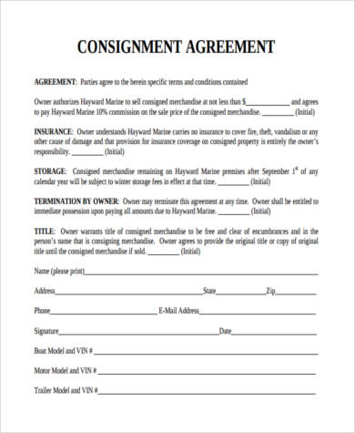 Consignment agreement form samples 9 free documents in pdf for Consignment store contract template