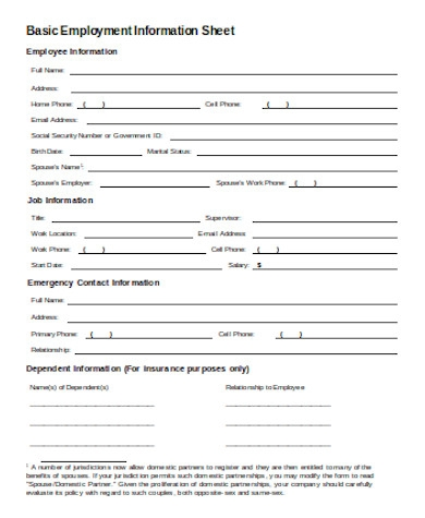 simple employment information form