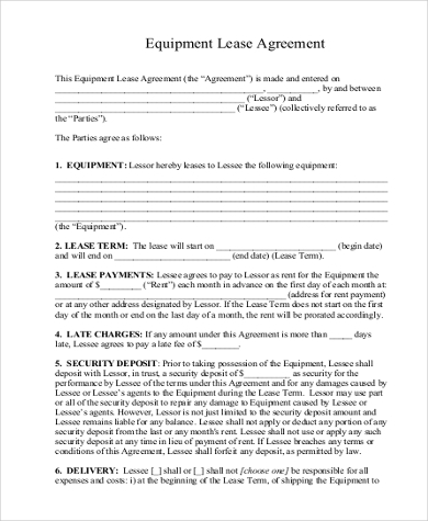 Sample Equipment Lease Agreement Form 9 Free Documents In Word Pdf