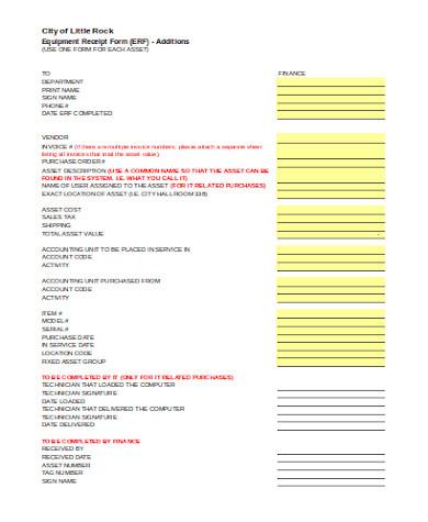 simple equipment receipt form
