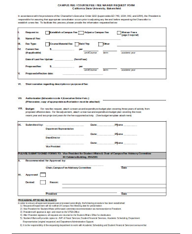simple fee waiver form