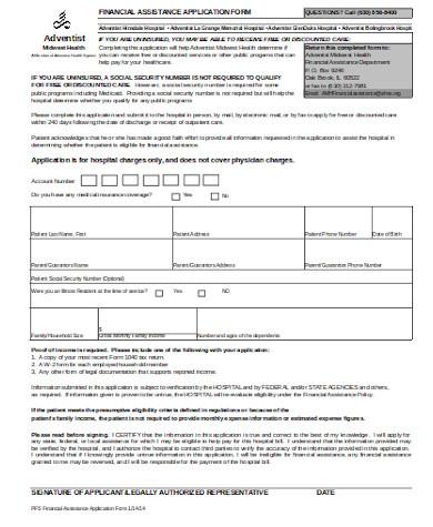 simple financial assistance form