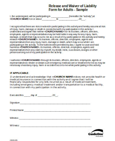 simple general liability release form