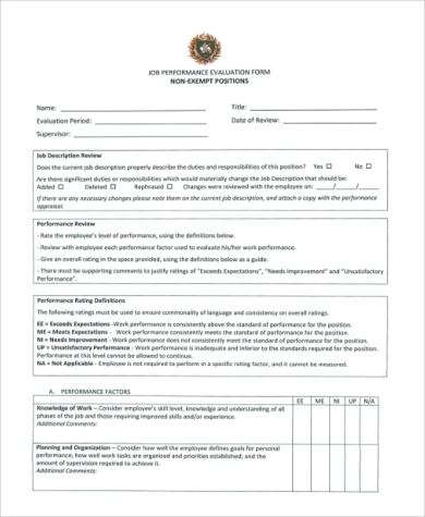 simple job performance evaluation form