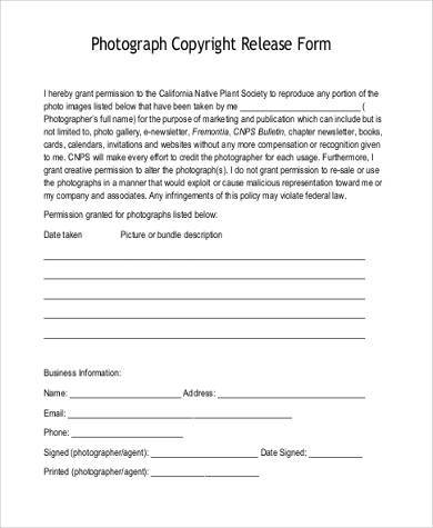 simple photo copyright release form