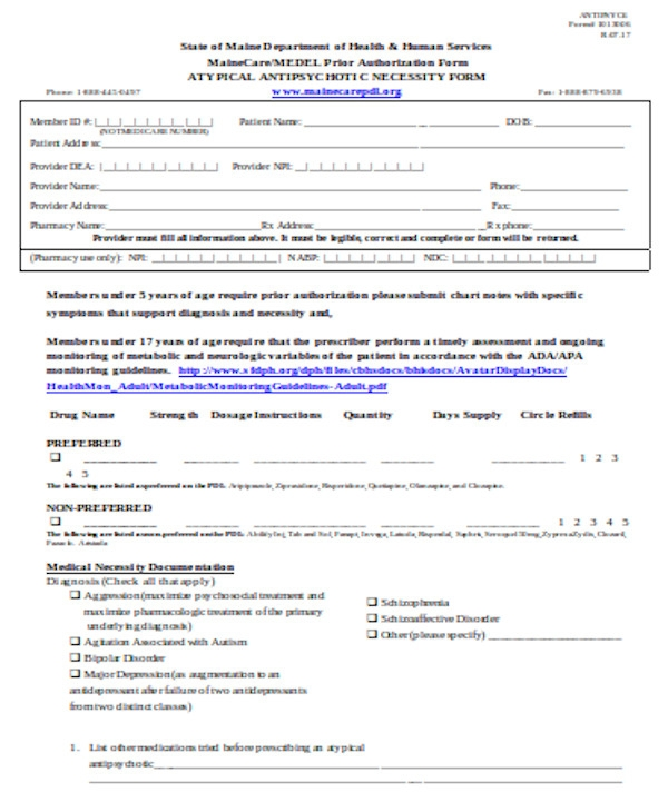 simple prior authorization form