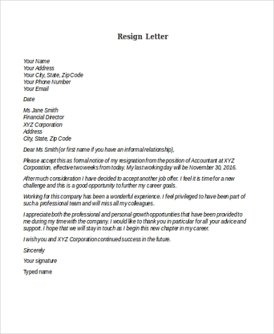 Resign Letter Sample - 8+ Free Documents In Word, Pdf