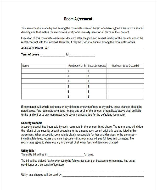 Room Lease Agreement Samples 9 Free Documents In Word Pdf