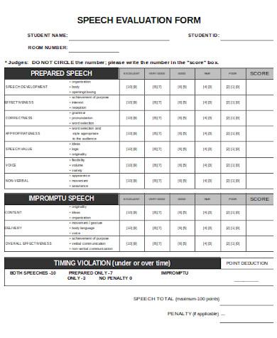 simple speech evaluation form