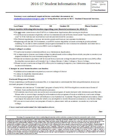 simple student information form