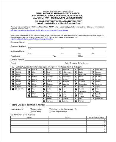 small business affidavit form