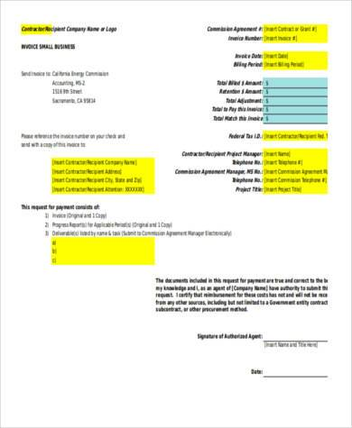 small business invoice form