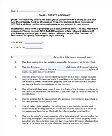 small claim affidavit form