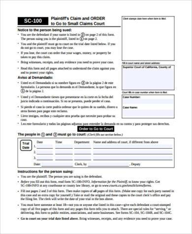 small claim court form