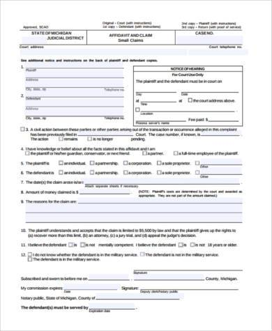 small claim form example