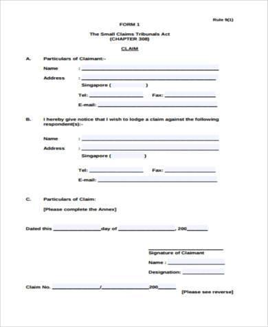 small claim tribunal form