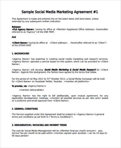 Sample Marketing Agreement Forms   Free Documents In Word Pdf