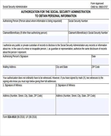 Social Security Administration Form Samples - 8+ Free Documents In